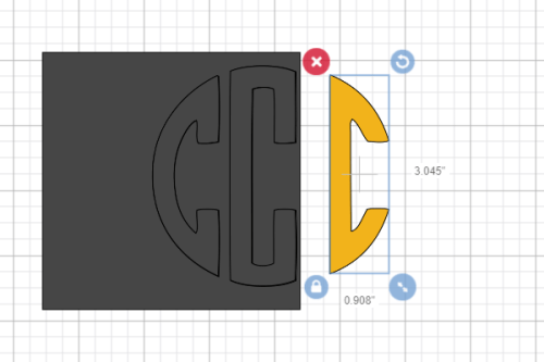 making the last letter for a circle monogram in cricut design space