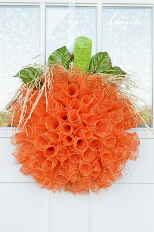 deco mesh pumpkin fall wreath