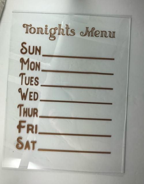 Free SVG file for dry erase menu board