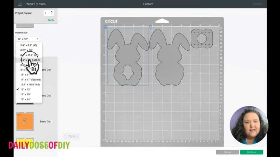 changing the material size on the mat screen of cricut design space