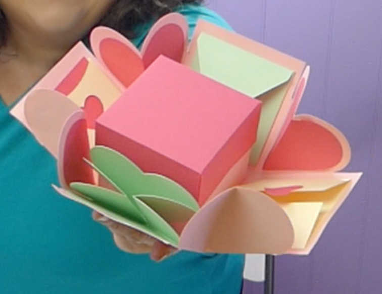 Pink heart exploding box