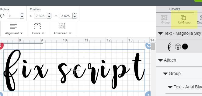 ungroup text in cricut design space