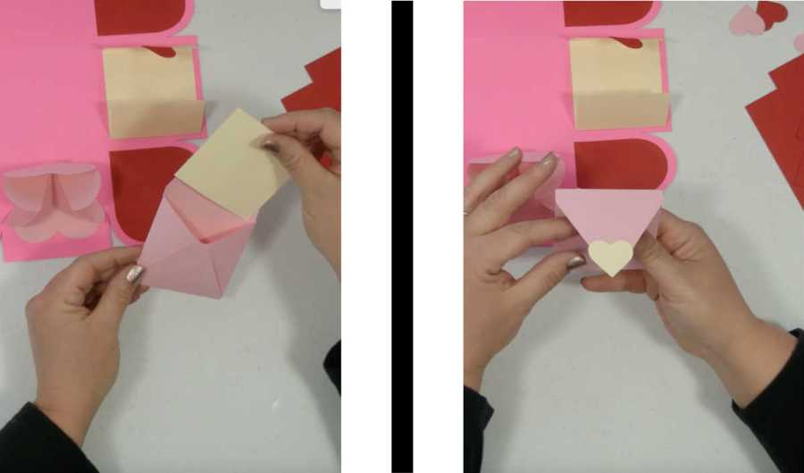 glueing the envelope for the exploding box