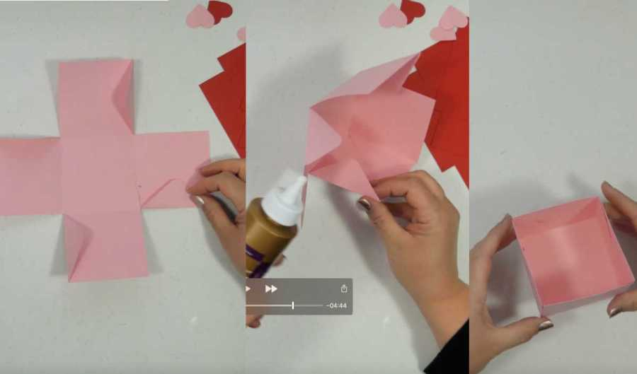putting together a paper exploding box