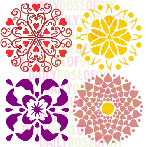 Four free SVG desings to use to make reusable stencils