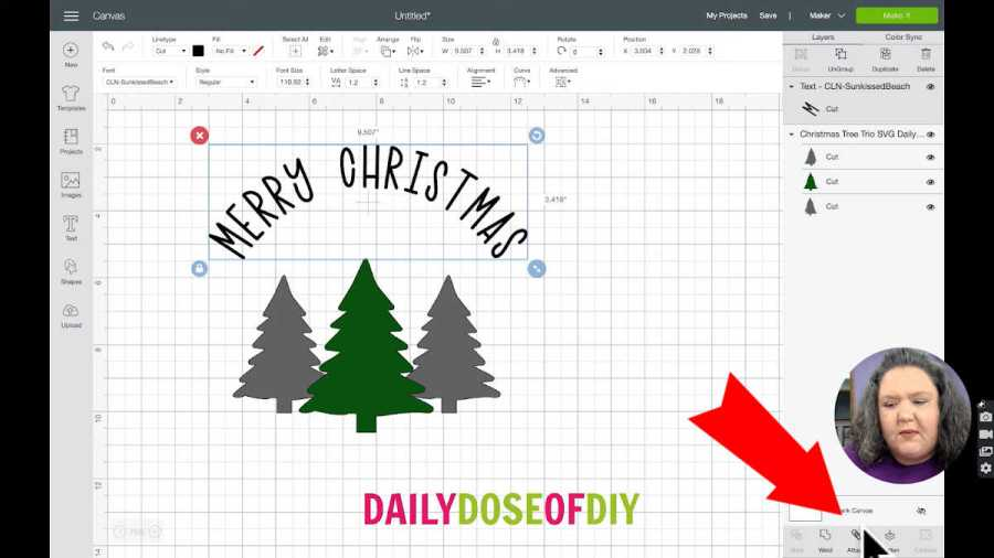 attach the text from the bottom of the layers menu in cricut design space