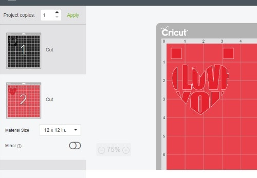 the knockout desings loaded on the cut mat in Cricut design space