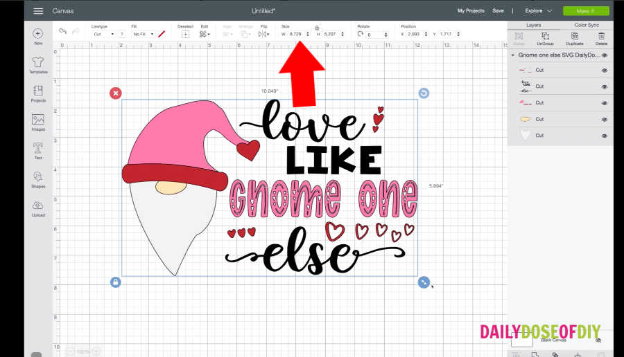 Gnome SVG design in Cricut Design Space to make a shirt