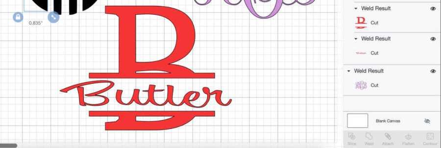 Split level monogram designed with Cricut