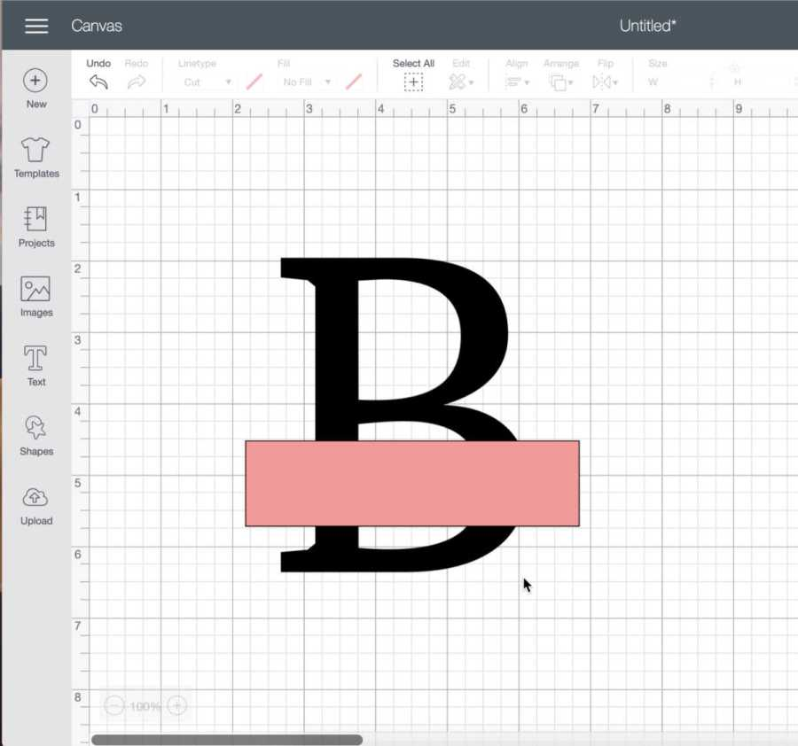 Use squares in Cricut Design Space to split letters for a monogram.