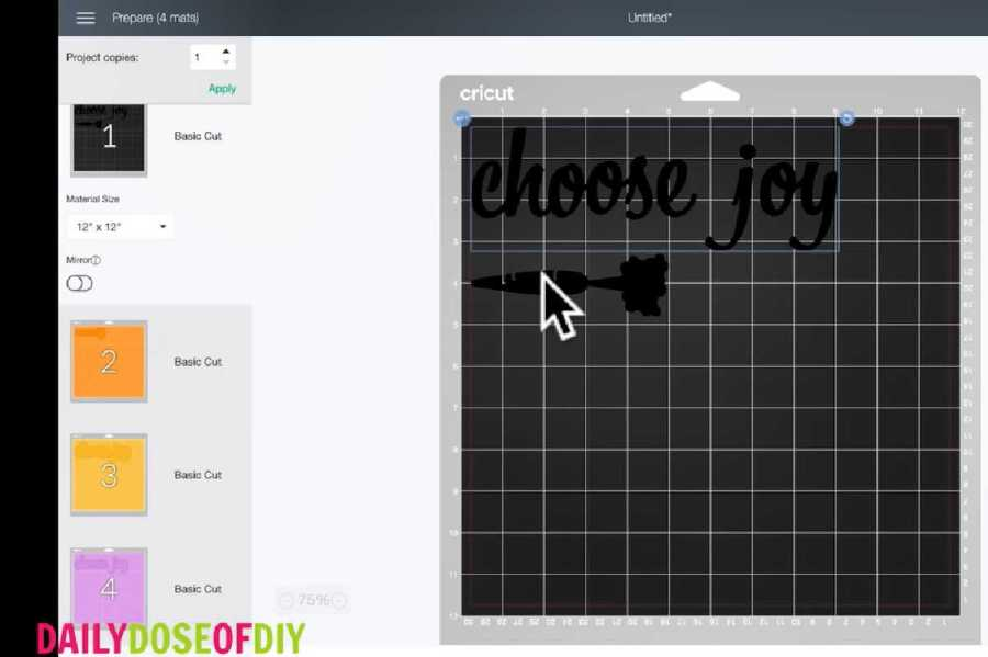 the mat screen in cricut design space shows all the offsets being placed on separate mats