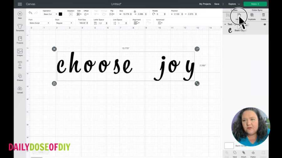 """The text """"choose joy"""" being ungrouped in cricut design space"""