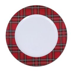 Buffalo plaid Christmas plate craft blank