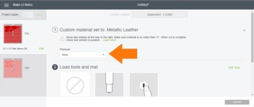 Pressure settings for Glitter hair bow on Cricut cutting machine