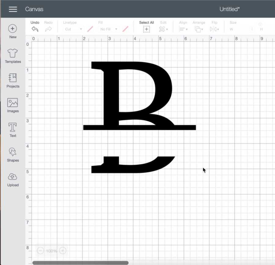 Make a thin square in cricut design space for the lines in a split level monogram