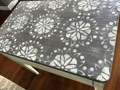 Chippy painted table top with a stencil. How to chippy paint without sanding