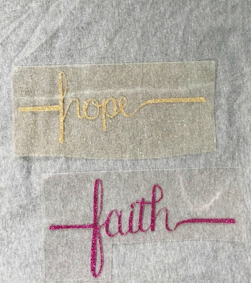 Arrange your HTV vinyl onto your project to use the cricut easy press