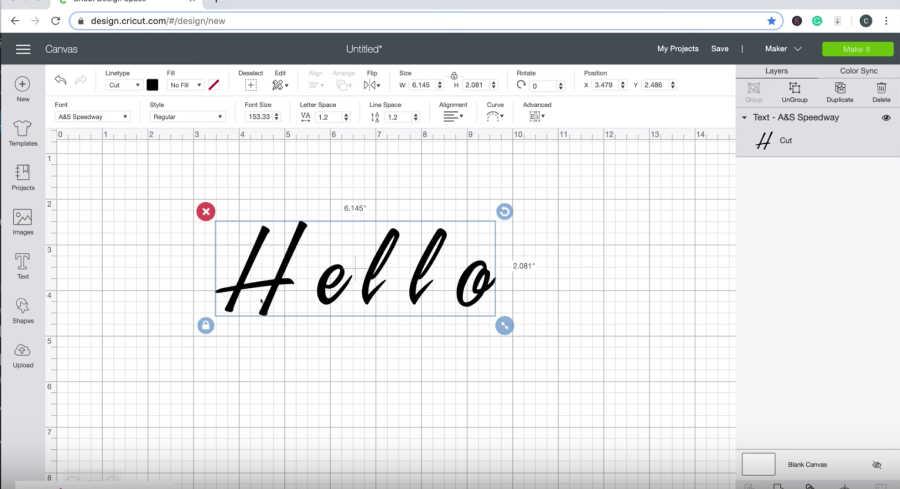 script text in design space