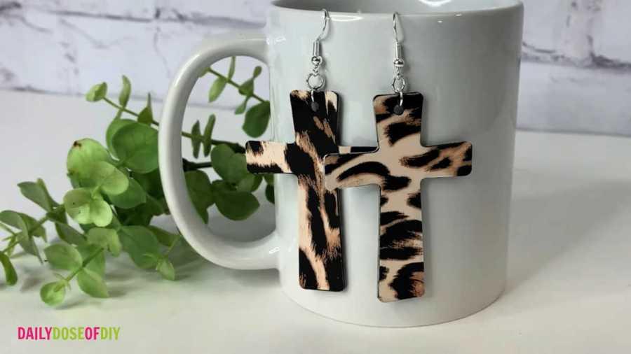 finished wooden cross earrings