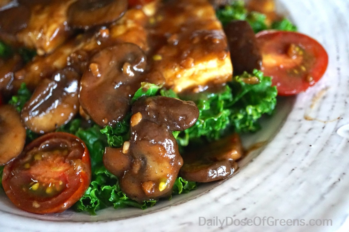 Tempeh Marsala With Wilted Greens