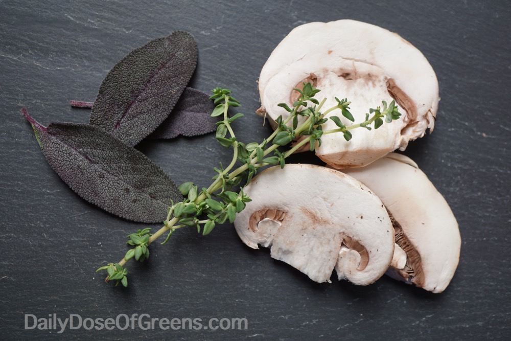mushrooms and herbs