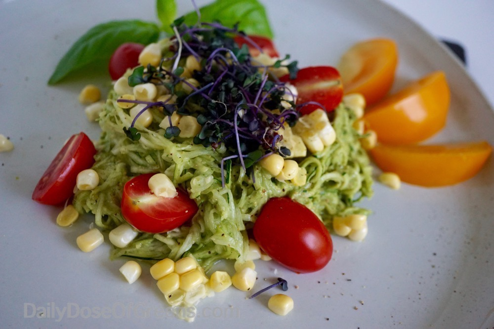 Zucchini Pasta with Basil Avocado Pesto