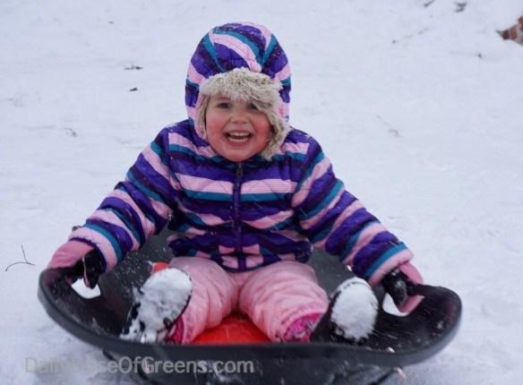 Abby sledding