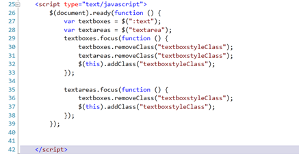 TextBox and Textarea Style Change on Focus using jQuery