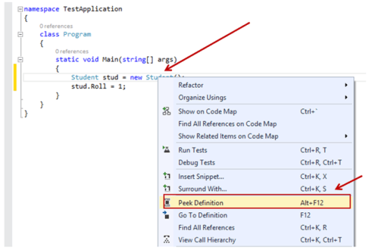 Peek Definition in Visual Studio 2013