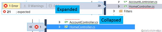 Error View  in Solution Explorer  Expand Collapse View