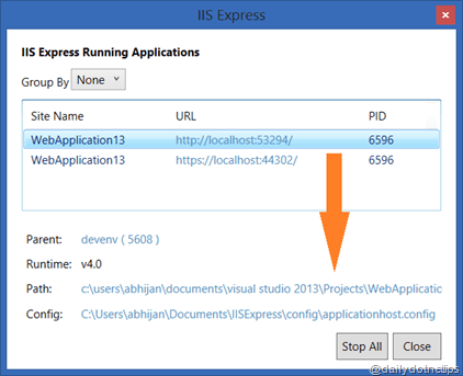 ApplicationDetails thumb 5 Internal things that you should know about IIS Express
