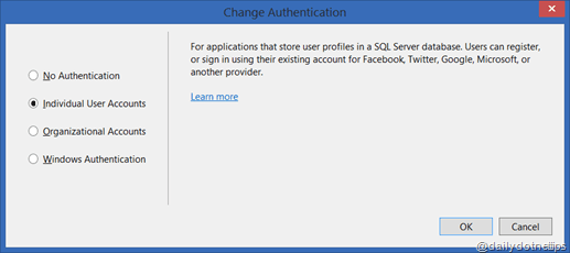 Change Authentication With Visual Studio 2013