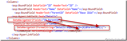 How to pass multiple values using GridView HyperLinkField ?