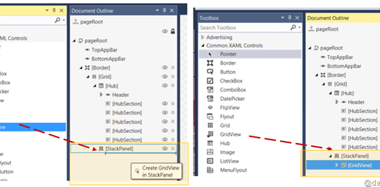 Drag and Drop XAML Controls from Toolbox to Document Outline
