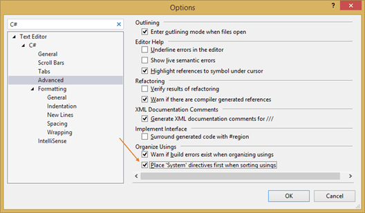 Automatically place the 'System' directives first when 'Sorting Usings' option in Visual Studio