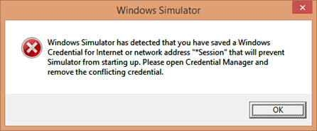 Windows Simulator has detected that you have saved a Windows Credential- Windows Store App Deployment Error in Simulator