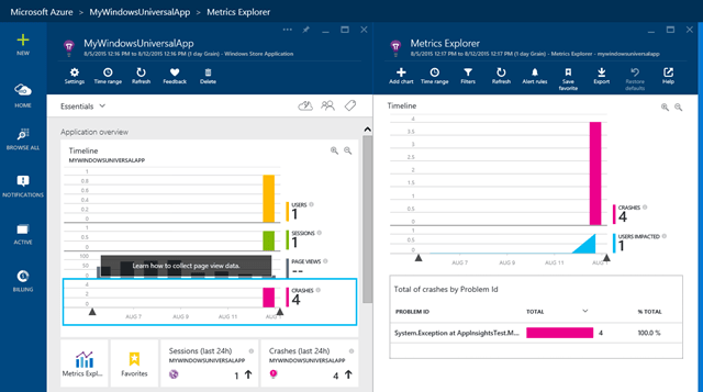 Adding Application Insights to a Windows 10 Universal App