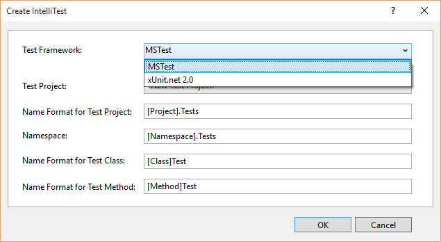 XUnit Test Framework with IntelliTest