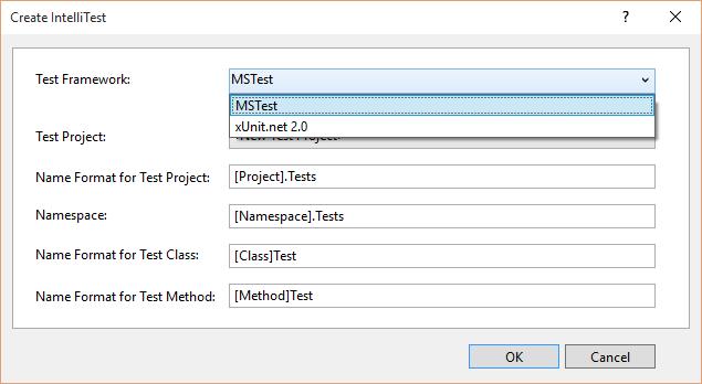 XUnit Test Framework with IntelliTest