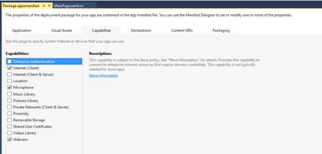 Kinect Store App Settings