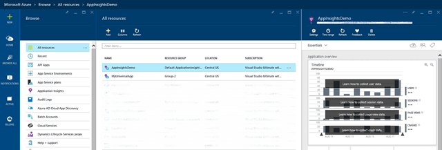 Create and add a new Application Insights from New Project Window Dialog