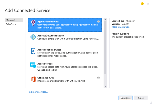 Use Add Connected Service To Add Application Insight