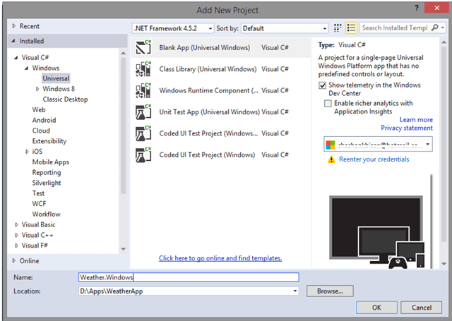 Adding New Windows Universal App