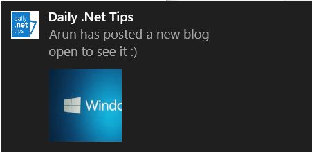 Implementing Adaptive Toast in Windows 10 Universal Apps
