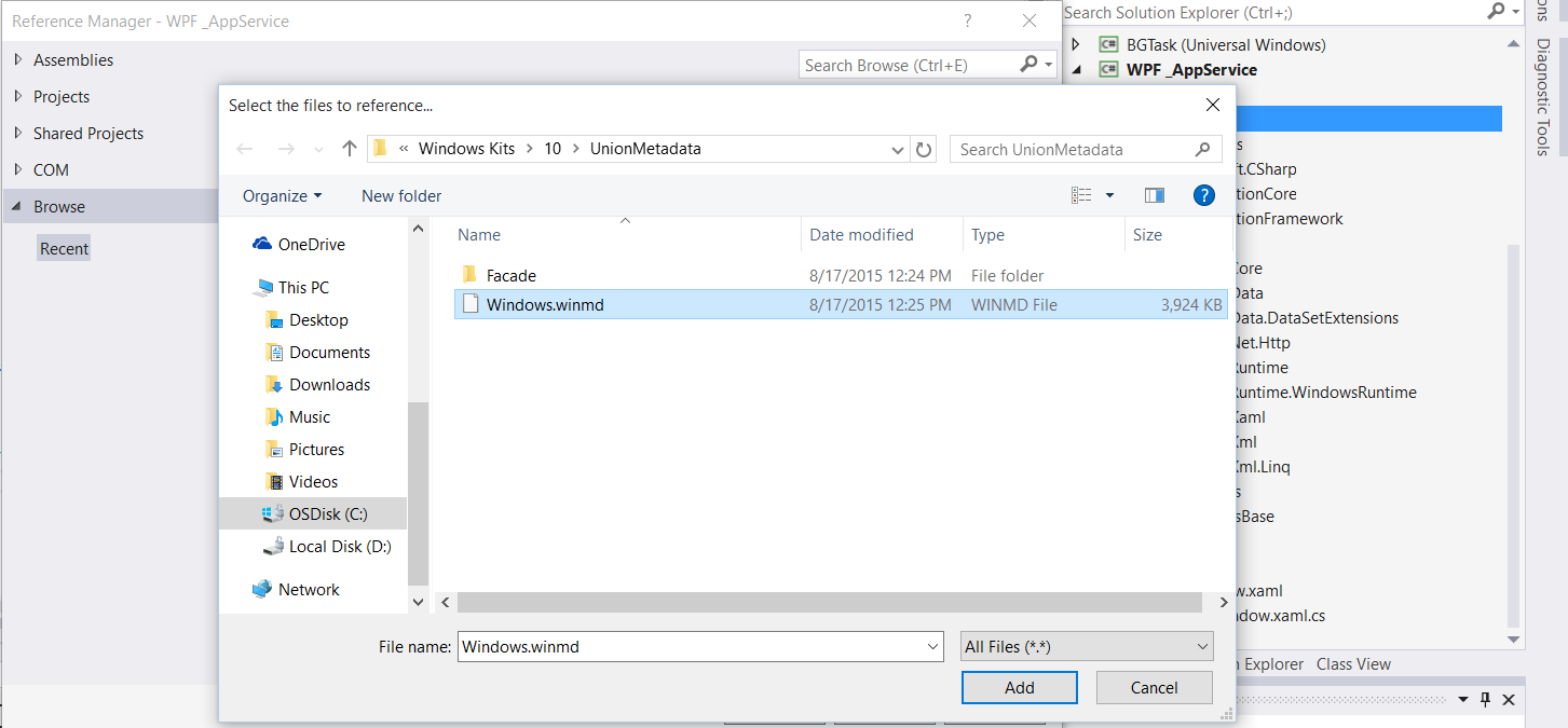 App Service communication together with Windows Universal