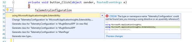 Microsoft.ApplicationInsights.Extensibility namespaces
