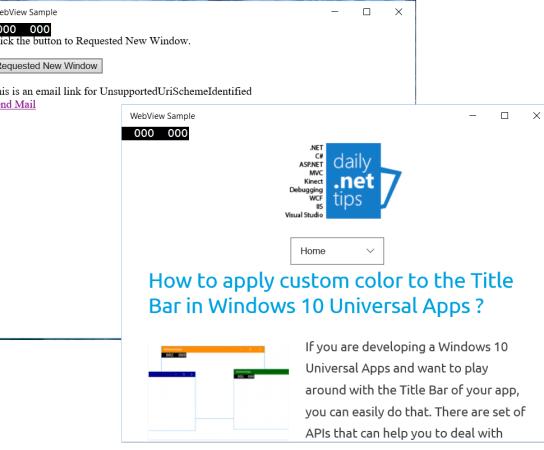 Understanding the new features of WebView in Universal Windows App.