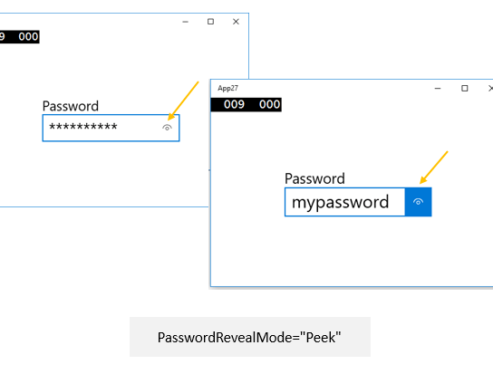 Using PasswordRevealMode for unmasking the Password in Universal Windows Apps