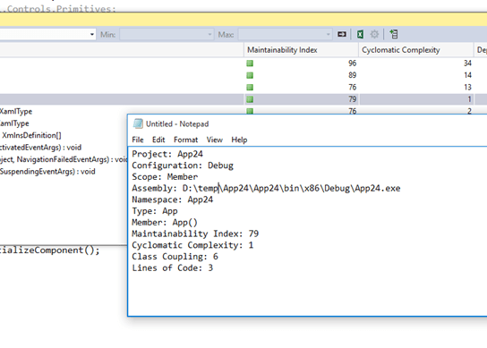 How to Copy Specific Code Metrics Results in Visual Studio ?