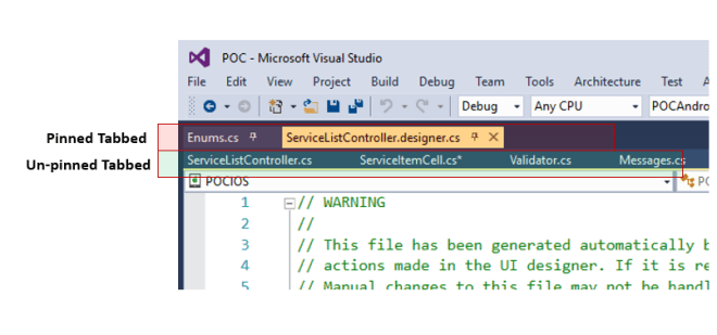 Persevering and Separating the pinned tabs in Visual Studio